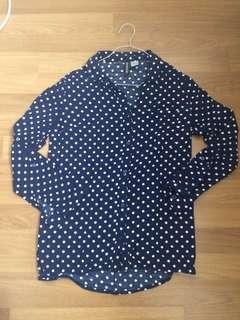 H&M Polka Dot Blue Blouse Shirt