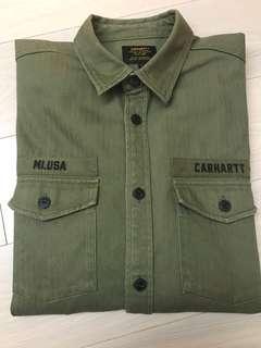 CARHARTT WIP 軍裝 襯衫 貼布 軍綠 L