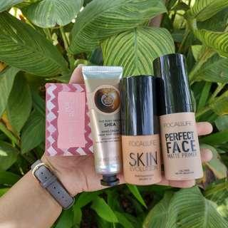 [TAKE ALL!] Focallure Primer, Focallure Foundation, The Body Shop Shea Hand Cream, Emina Pop Rouge Eye Shadow