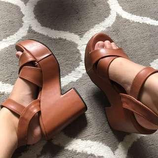 Brown chunky heel platform