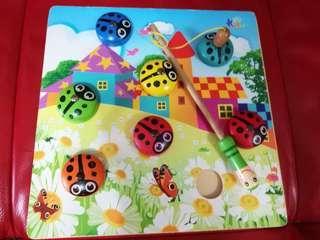 Montessori Lady bug Fishing wooden Toys