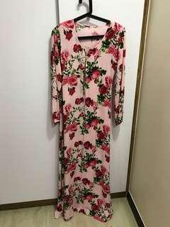 Muslimah long dress long sleeves pink floral size S
