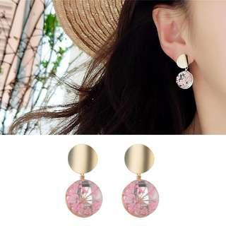 ╭✿蕾兒0509✿╮DB038-韓國耳飾粉色世界玻璃花卉滿天耳環耳釘耳針飾品首飾
