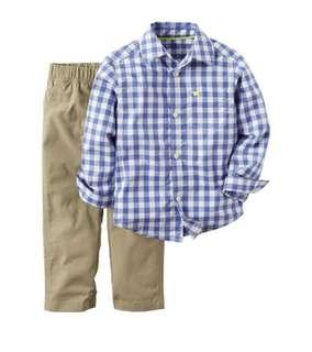 Carter's 2-Piece Button-Front Shirt & Pants Set