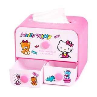 🚚 Hello Kitty 桌面抽屜式多功能紙巾盒 桌面化妝品收納盒 儲物盒