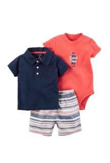 Carter's 3-piece bodysuit and shorts set - 24 months