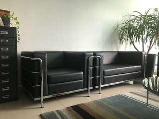 Sofa 3 + 2 + 1 PU Black Under Utilised 9.5/10