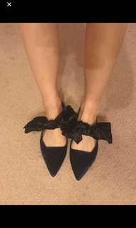 Zara復古可愛蝴蝶結尖頭平底鞋