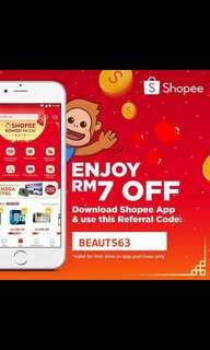 Get RM7 for Shopee New User