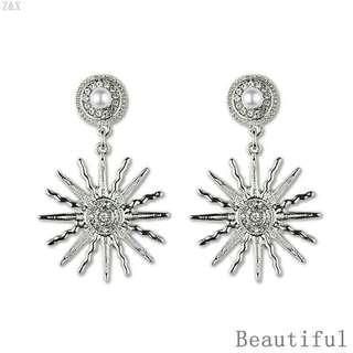 <In Stock> Korean Style Silver Solar Flower Earrings