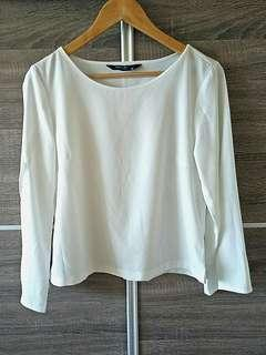 White Top with Slit Sleeves