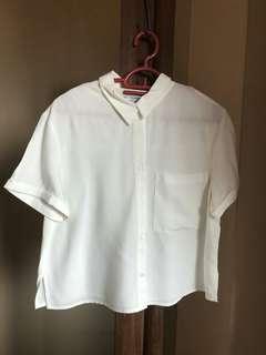Pull & bear white top wirh collar