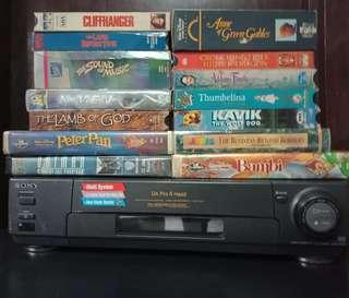 VINTAGE SONY VIDEO CASETTE RECORDER AND TAPES