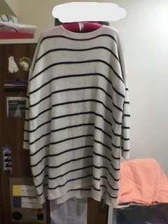 Pazzo-條紋毛衣長版上衣