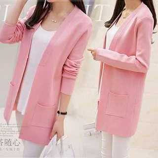 🚚 粉紅色開襟針織衫
