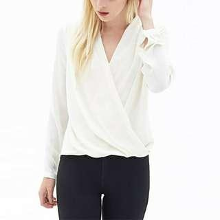 Women blouse long sleeves white color chiffon shirt #MFEB20