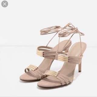 Charles & keith nude strappy sandals #onlinesale