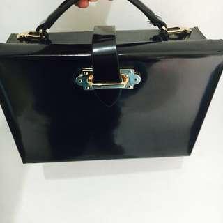 Zara Black Minaudiere Briefcase Purse
