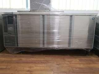 Door counter chiller with stainless steel single bowl sink