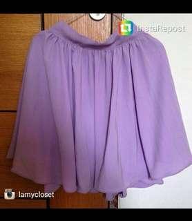 Rok flare ungu pastel