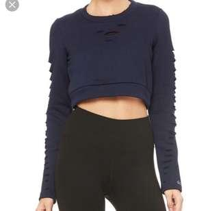 Alo yoga ripped warrior long sleeve Navy size XS