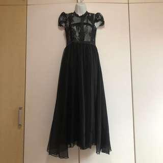 Lolita Black Evening Gown Maxi Dress
