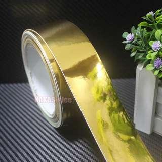 Gold Yellow Flat Glossy Mirror Chrome Vinyl Wrap Sticker