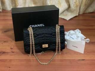 Authentic Chanel Black Satin Double Flap Reissue Bag