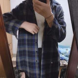 藍色格子長版襯衫