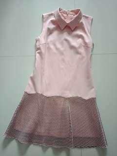 Pink Collar Dress with Flare Net Design