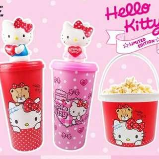 Brand new hello kitty water popcorn bucket, cup & bottle tumbler with hard straw