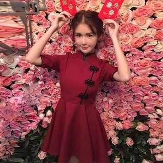 Wine Red 3/4-Sleeved Fit & Flare Cheongsam
