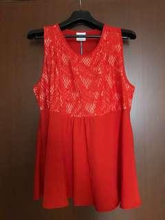 BN Spring Maternity Nursing Red Lace Top