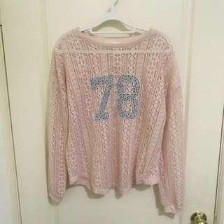 🚚 粉色簍空毛衣