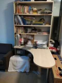 L shape table and book shelf 書架