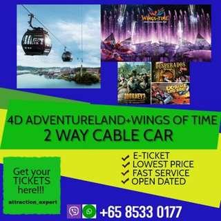 4D AdventureLand, Wings of Time, and More + Return Cable Car Ride
