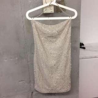topshop cream colour sequin dress 杏色珠片露背裙連身
