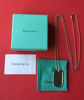 Genuine Tiffany & Co Coin Edge Tag Pendant Unisex Necklace