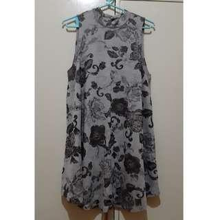 Gray black leaf dress
