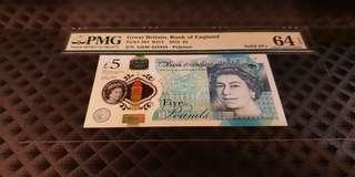 AH46 444444 England 2015 £5 Solid Number PMG 64 Choice UNC EPQ