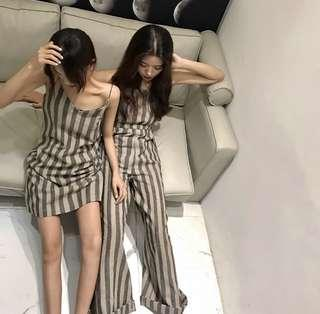 Striped spag slip dress