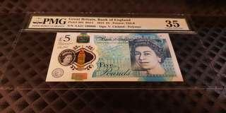 AA37 100000 England 2015 £5 Early Prefix Fancy Number  PMG 35 Choice VF