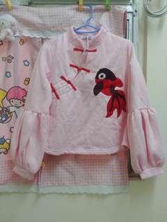 新年賀年粉紅燈籠長䄂娃娃上衣