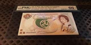 H 222222 Isle of Man 1983 QEII 10 Pounds Solid Number PMG 66 Gem UNC EPQ Rare