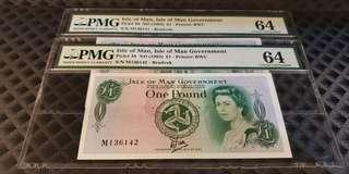 A pair of Isle of Man 1983 1 Pound QEII Tyvek-Brandvek PMG Choice UNC 64