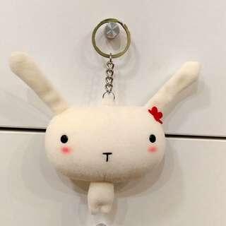 Bucute布羅兔~大款鑰匙圈吊飾~白色紅花~送圖3扣圈
