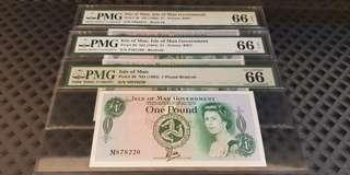 Complete Prefix M N P Isle of Man 1983 1 Pound QEII Tyvek-Brandvek PMG 66 EPQ