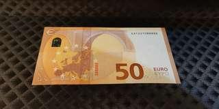 088888 Euro 2017 €50 Lucky Number Almost Solid UNC Scarce