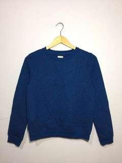#onlinesale H&M Womens Blue greenish Textured Crewneck