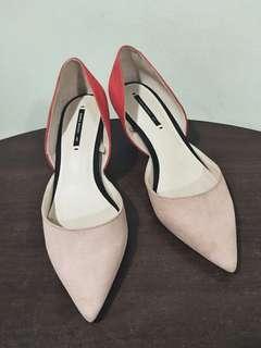 🚚 Zara近全新麂皮粉紅橘紅配色小尖頭低跟鞋